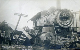 Trout Lake Train 1912 Wreck Historic Post Card View