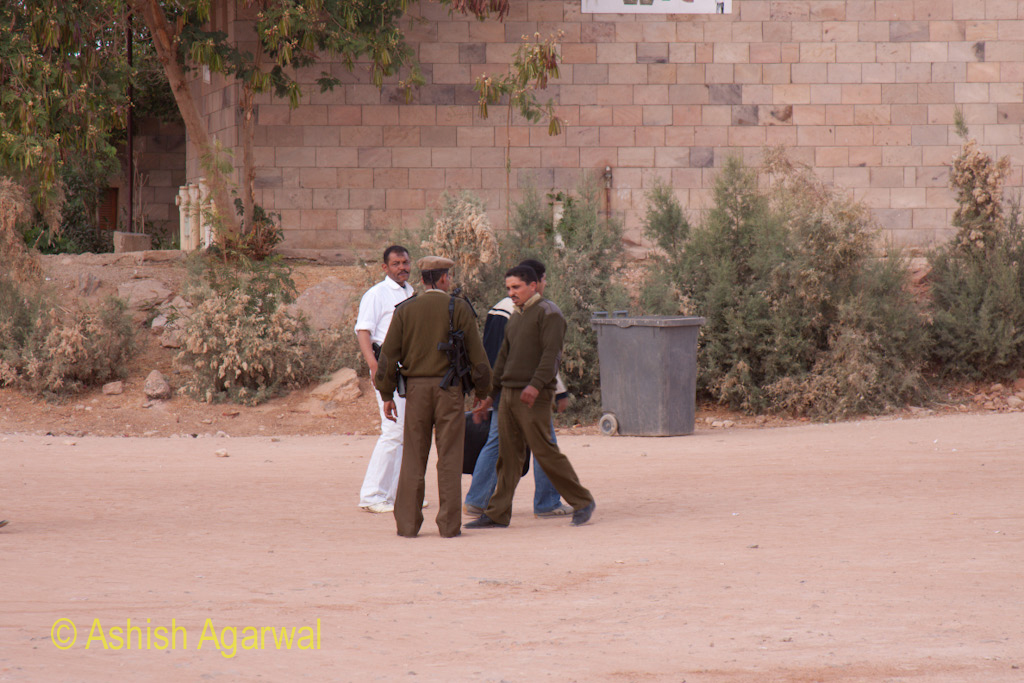 Security personnel outside the entrance of the Abu Simbel temple in south Egypt