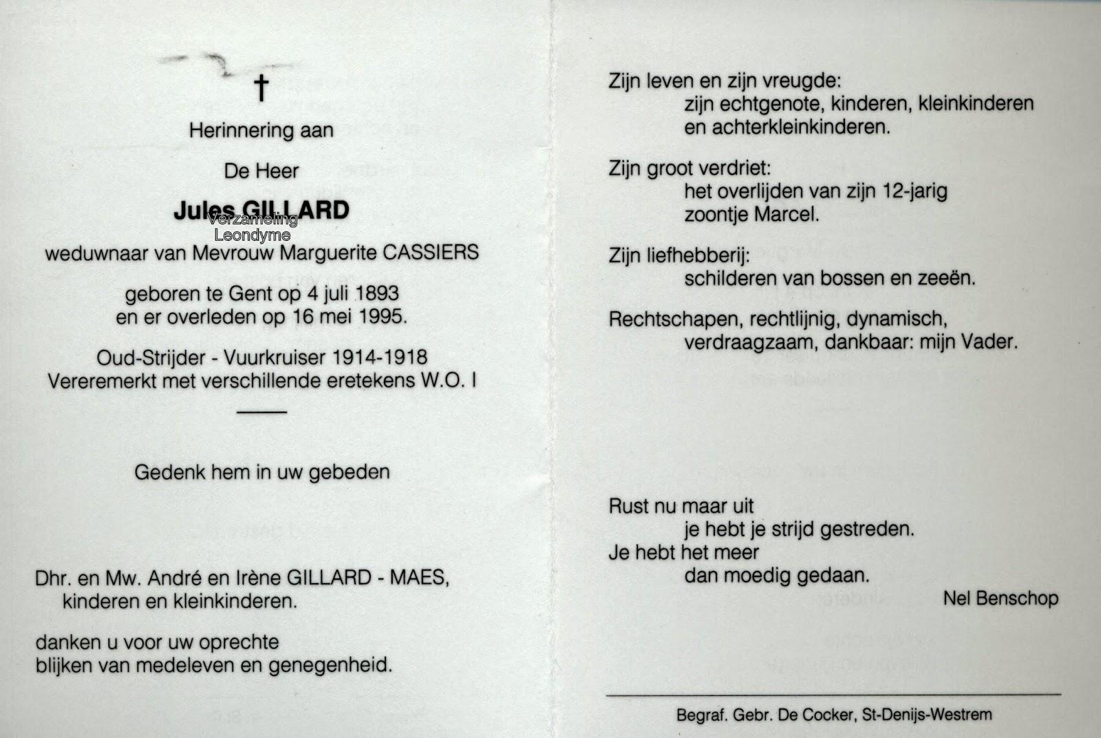 Bidprentje, Jules Gillard 1893-1995. Verzameling Leondyme
