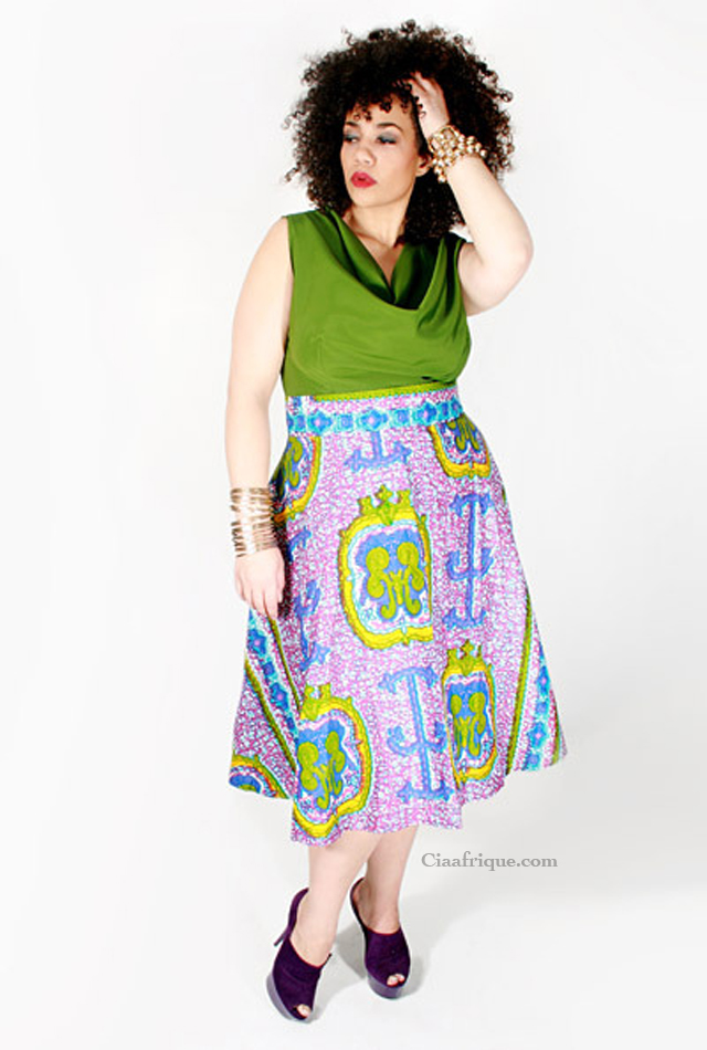 plus size African print fashion skirt by dear curve