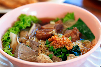 Noodles Soup with Pork grilled