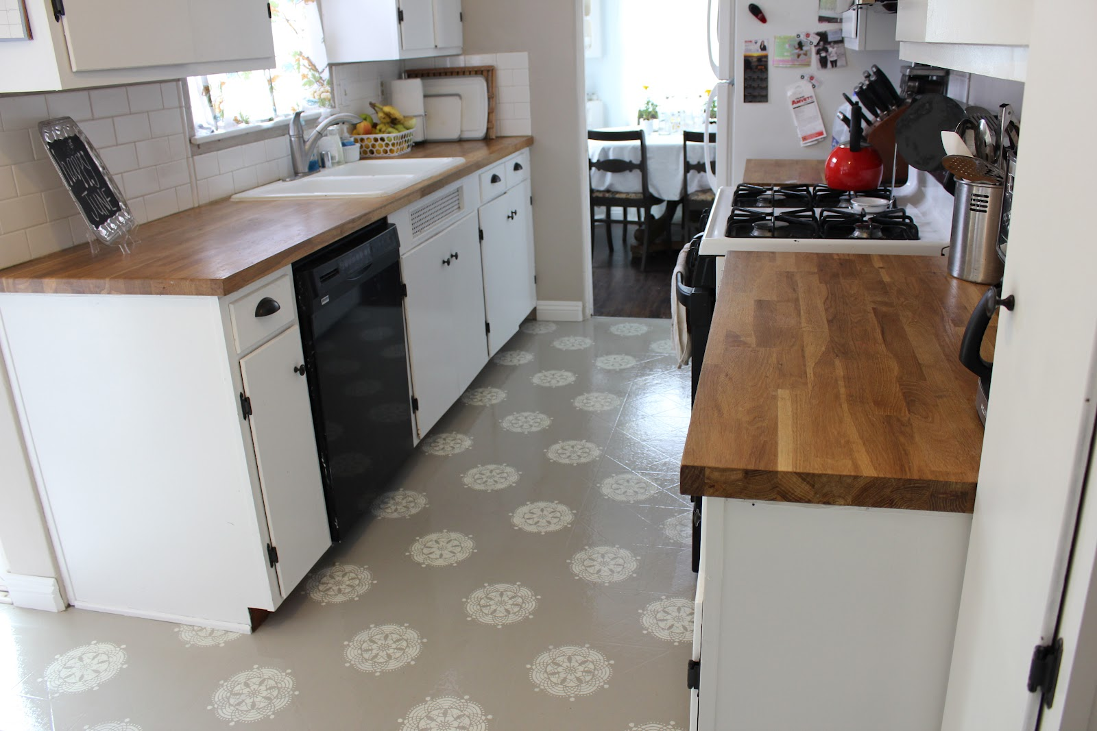 a warm conversation: work with what you got-painted kitchen floors