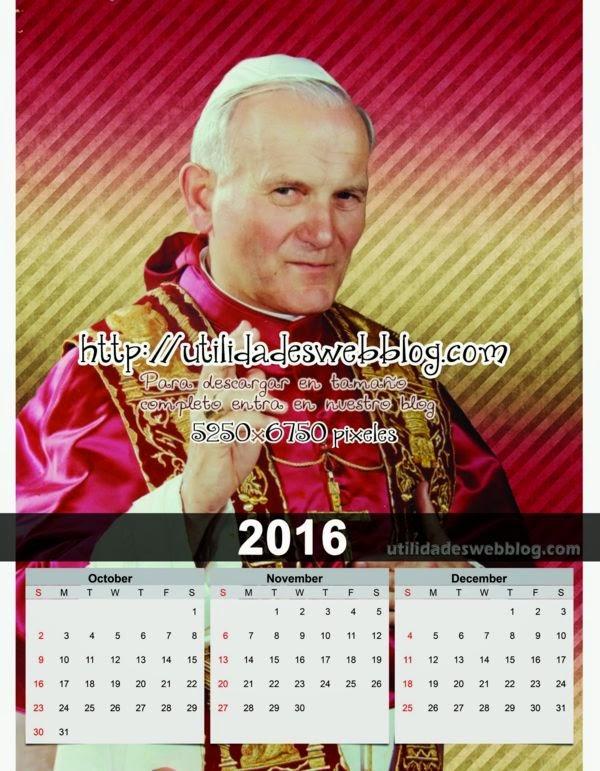 Calendario católico trimestral 2016 Octubre, Noviembre y Diciembre para imprimir de Juan Pablo II