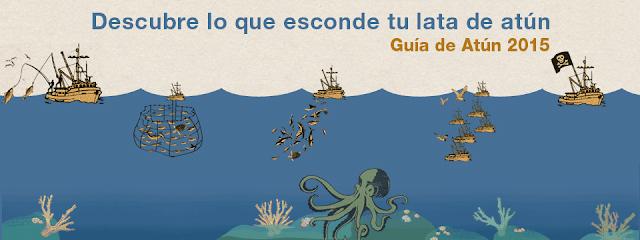 Barcos pescando atún y la frase: Descubre lo que esconde tu lata de atún. Guía de Atún 2015