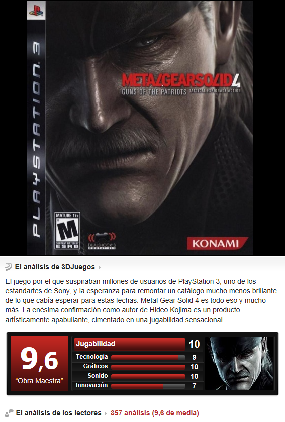 Metal Gear Solid 4: Guns of the patriot [PS3][3.55][Multi]