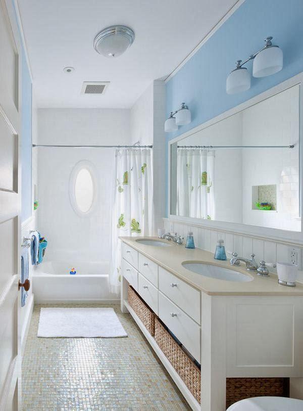 Decorar Un Baño Azul:El azul cielo es ideal para decorar cuartos de baño pequeños, ademas