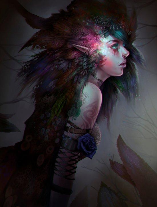 Emily Chen aStripedUnicorn deviantart ilustrações fantasia mulheres elfas personagens femininas