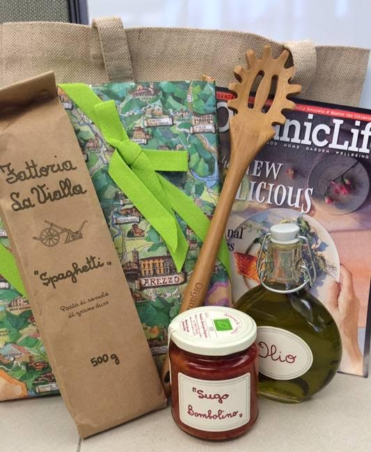 Giveaway package from Organic Life magazine and Yankee Kitchen Ninja