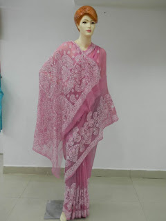 Lucknowi Chikan Indigo Georgette Saree