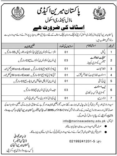 Teachers & Admin Jobs in Pakistan Marine Academy School Karachi