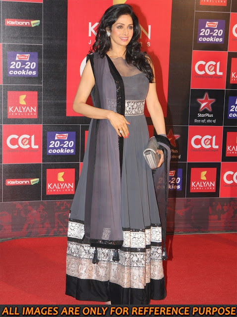 Sridevi Grey long Anarkali Suit, Bollywood Replica Suit