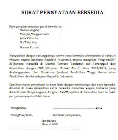 Freedom: Surat Pernyataan Ketersediaan