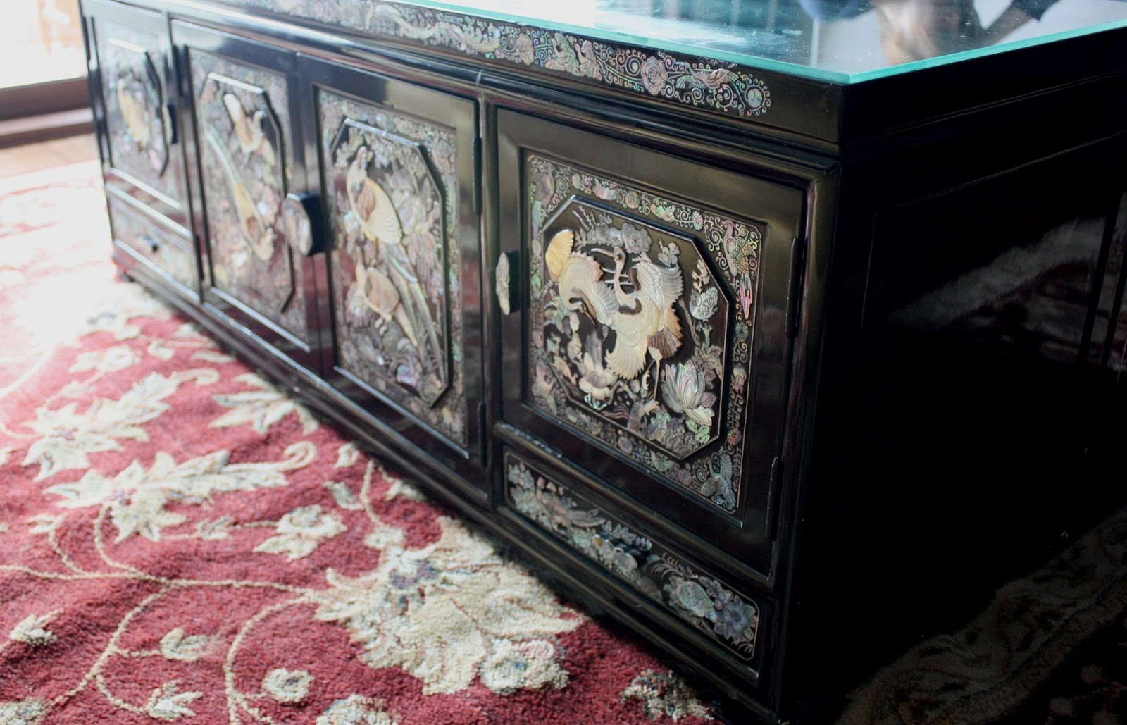 A Pair Of Black Lacquer Vintage Korean Mother Pearl Abalone Inlaid Bridal Chest We Re Using Them As Coffee Tables And Storage