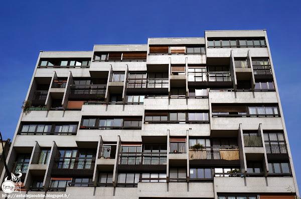 Paris - 13ème - Résidence, boulevard Vincent-Auriol (Bd de la Gare)  Architectes: Roger Anger, Pierre Puccinelli, Mario Heymann.  Construction: 1961