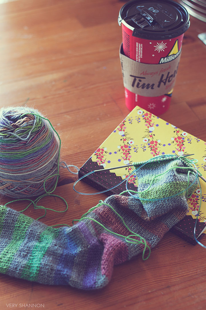 Tim Horton's and knitting \\ www.veryshannon.com