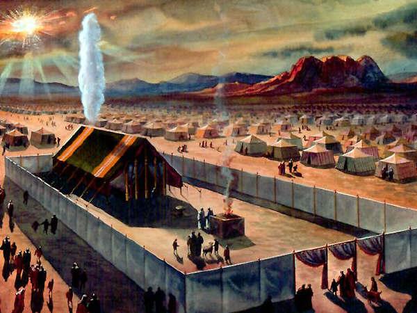 Quadro com a tenda do Tabernáculo e as 12 tribos no deserto