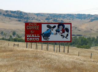 Advertisements for Wall Drug on Interstate 90 in South Dakota