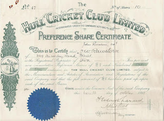 Share certificate of the Hull Cricket Club