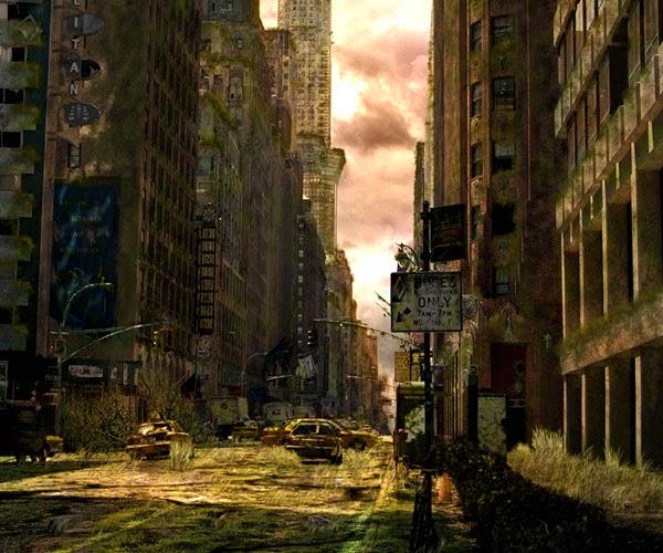 A Dark, Post-Apocalyptic City Illustration