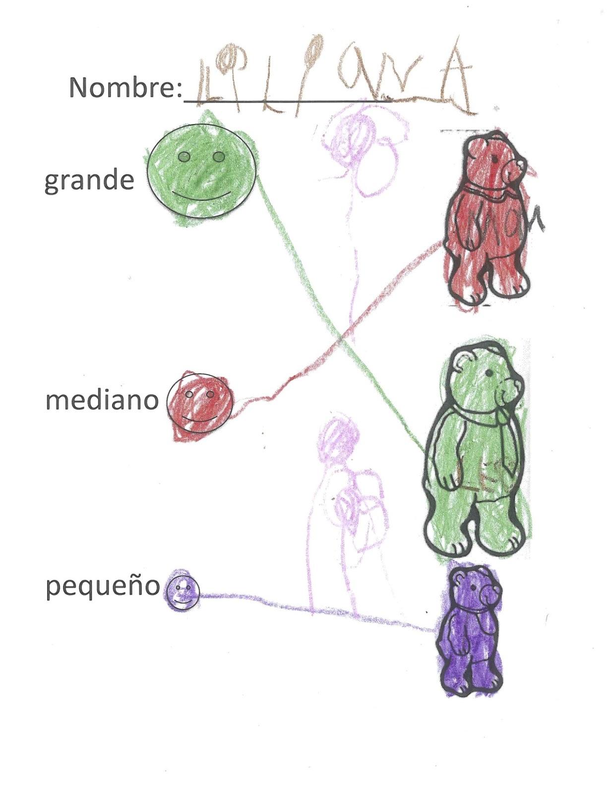 Goldilocks and the Three Bears in Spanish – Goldilocks and the Three Bears Worksheets Kindergarten
