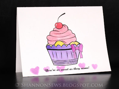 DIY watercolor painting handmade cupcake card