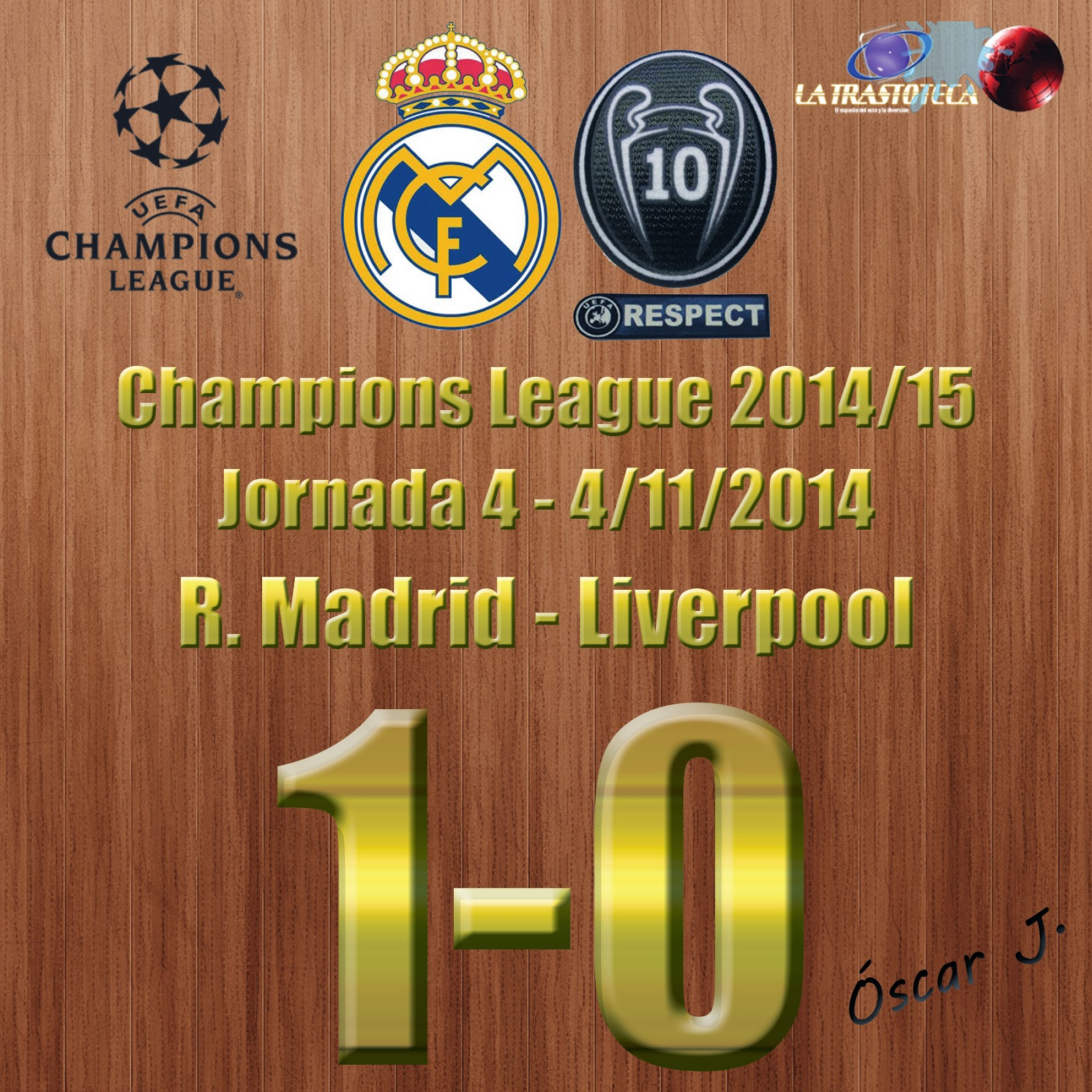 Real Madrid 1-0 Liverpool - Champions League 2014/15 - (4/11/2014). El Real Madrid clasificado matemáticamente para octavos