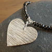 textured OOAK fine silver heart pendant with black Spinel beads handmade artisan necklace