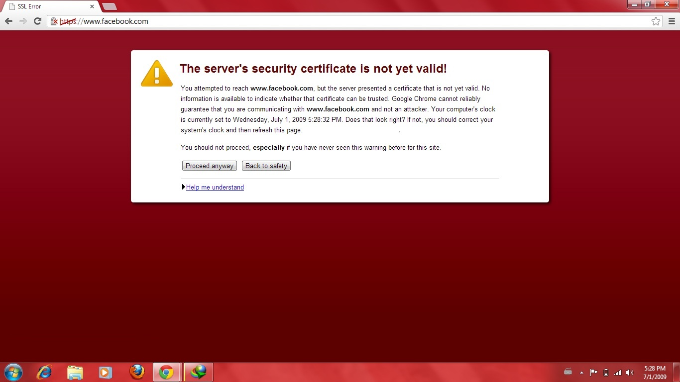 Computers And Others The Servers Security Certificate Is Not Yet