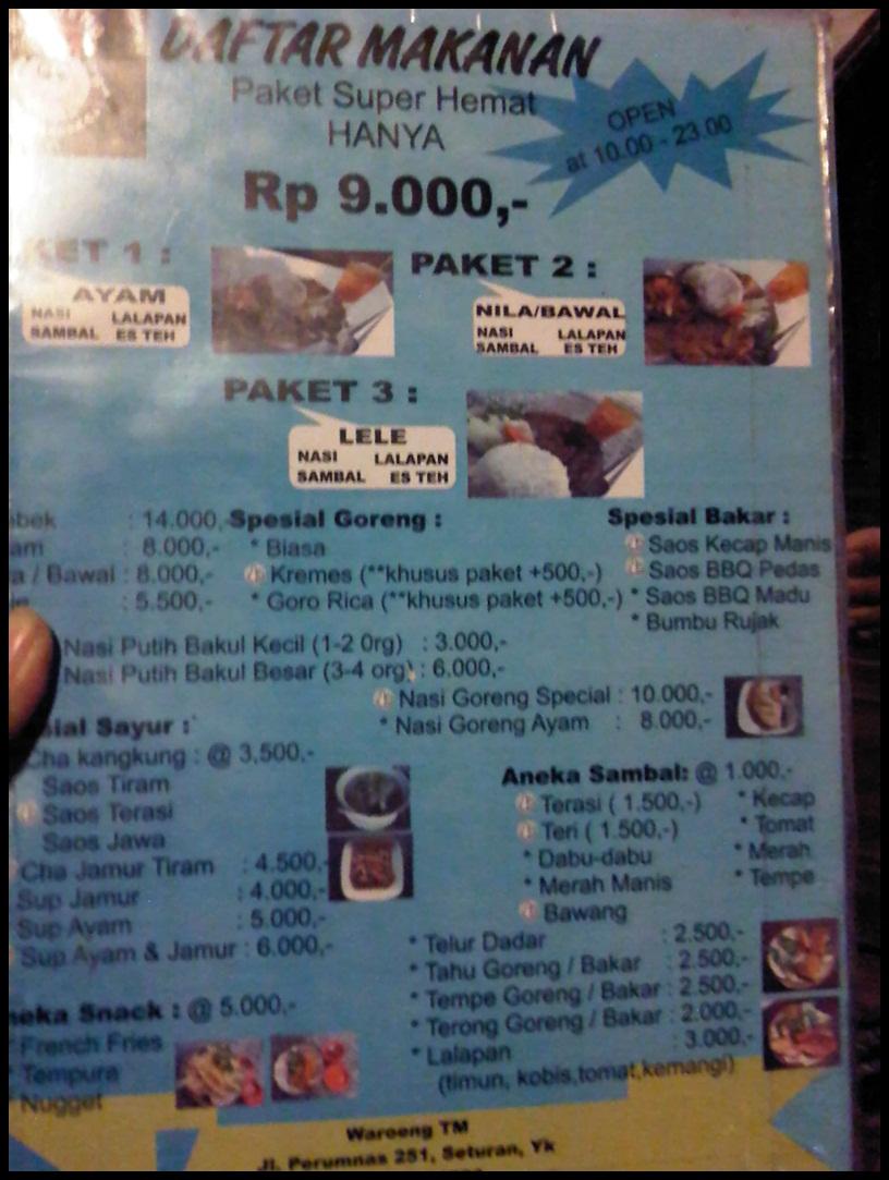 Kuliner jogja waroeng tm rina chabbymutz for Z kitchen jogja menu