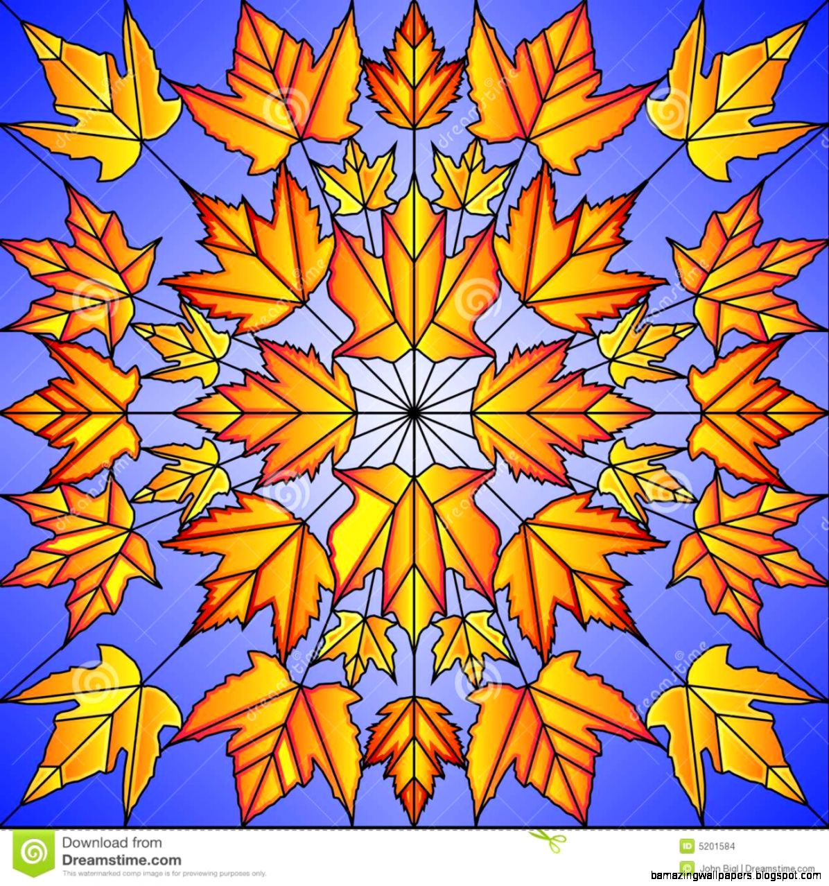Stained Glass Maple Leaves Stock Images   Image 5201584