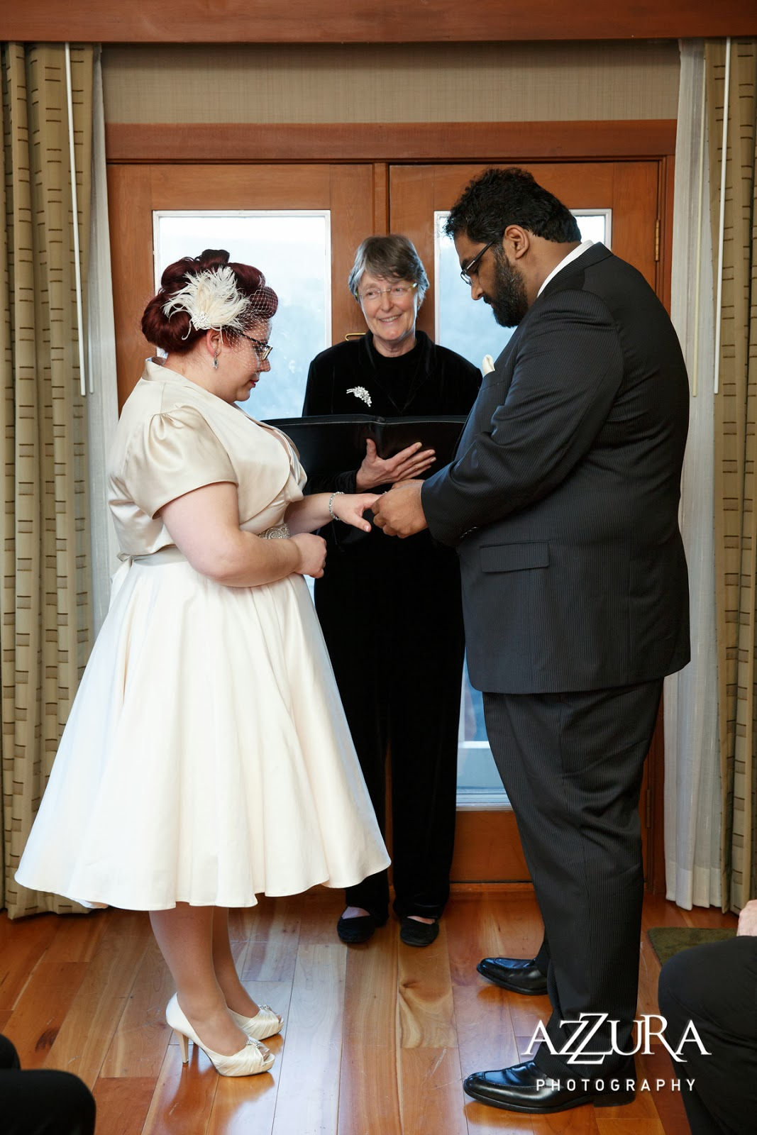 Ankur and Abby exchange wedding rings - Patricia Stimac, Seattle Wedding Officiant