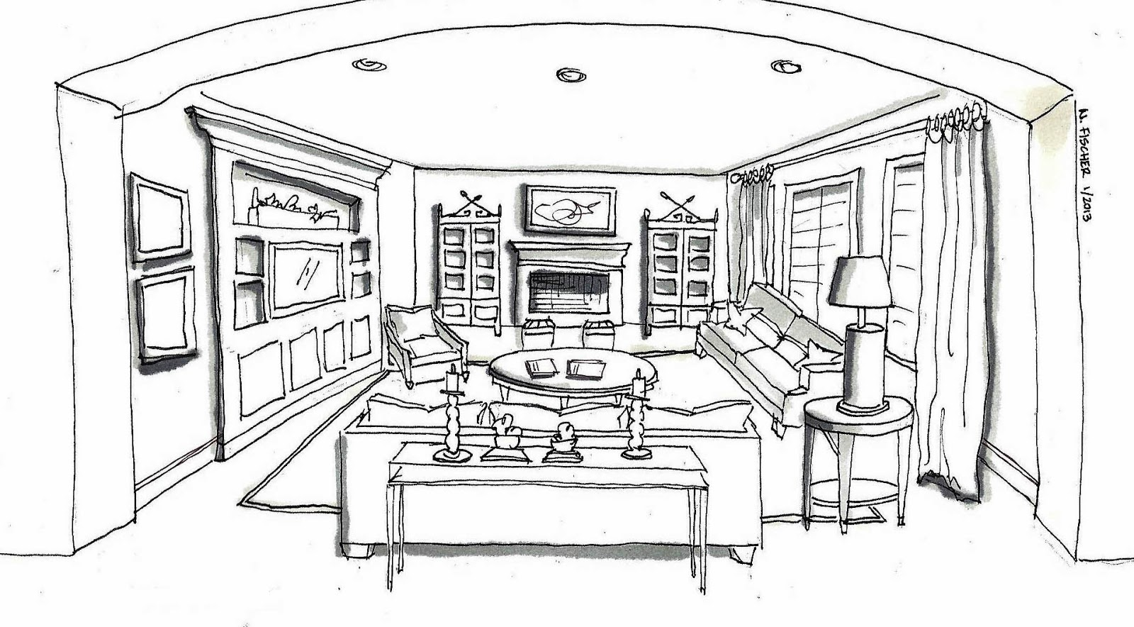 Living room interior design sketch 2017 2018 best cars for Interior design sketches