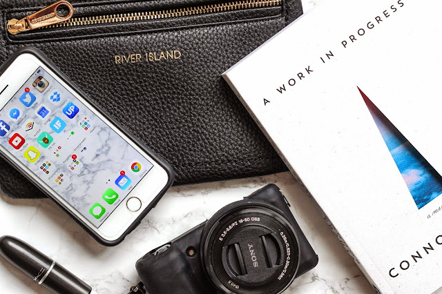Flatlay River Island Apple iPhone Conor Frata Book MAC Lipstick Sony Camera