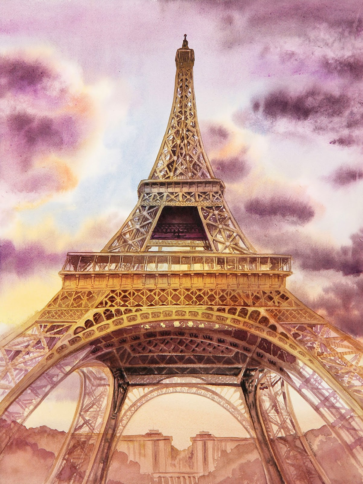 realism in watercolor evening Paris