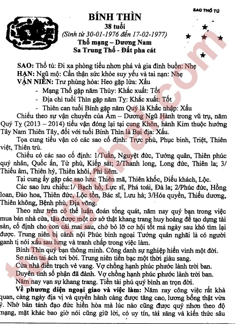 TỬ VI TUỔI BÍNH THÌN 1976 NĂM 2013 (QUÝ TỴ) - Blog Trần ...