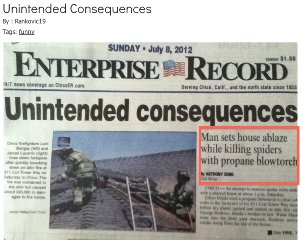 Enterprise Record - Unintended Consequences screenshot of homepage story