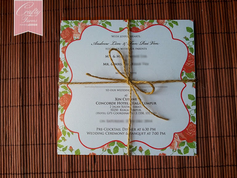 Rose Theme Chinese Wedding Cards