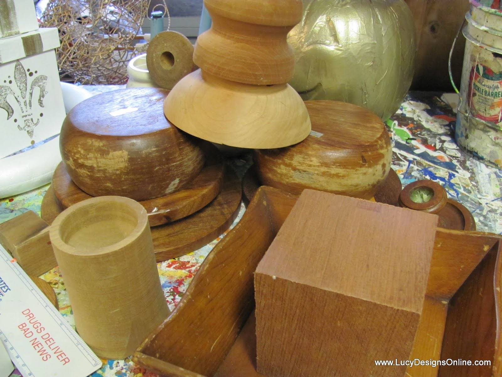 assorted wooden shapes
