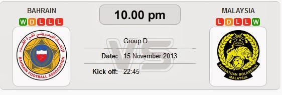 Live Streaming Malaysia vs Bahrain 15 November 2013