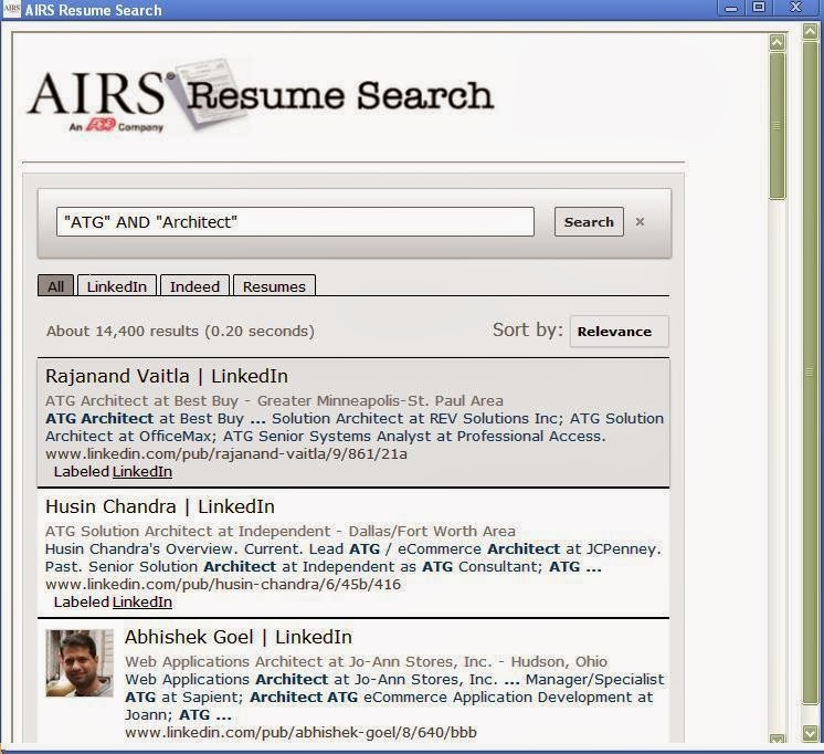The Recruiters Today AIRS Free Resume Search