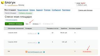 отложенная активация блога в Блогун