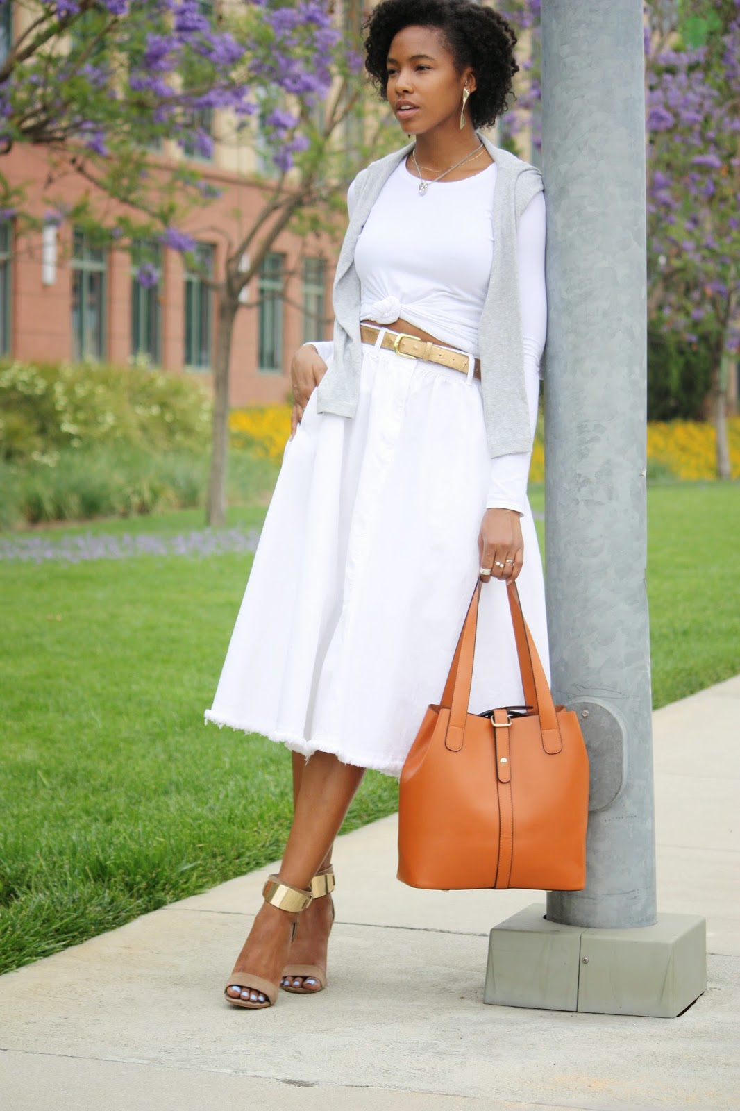 Wearing, Cynthia Rowley long sleeve shirt, Felina long sleeve shirt, H&M white denim skirt, Aldo heeled sandals, Ms Littles Bag leather multifunctional bucket bag