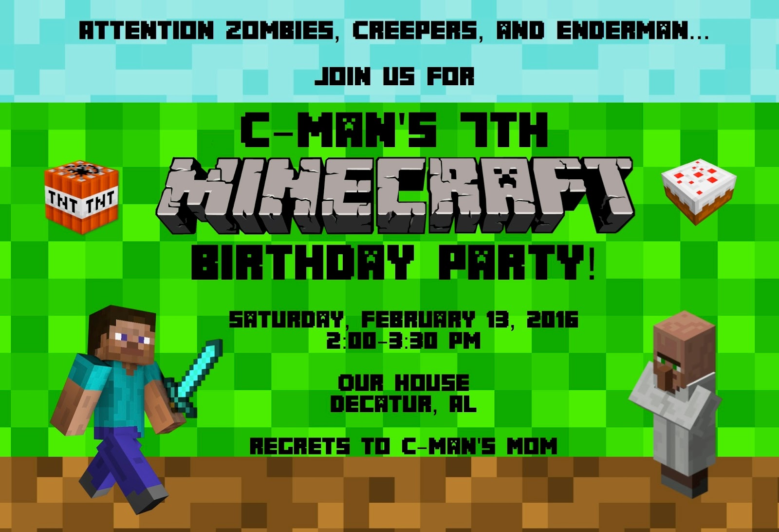 A disney moms thoughts minecraft birthday party invitation a i cant believe its already time for birthday party 7 for c man last year was the year he outgrew a disney themed party and went with a football theme filmwisefo