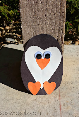paper heart penguin craft