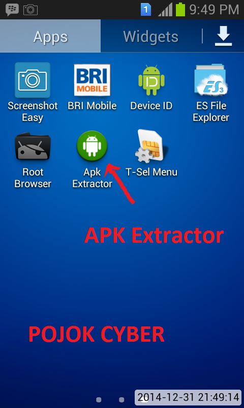 Shorcut APK Extractor di Android