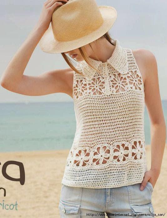 Croche Madona-mía puntos y graficos: Blusa en crochet sin manga