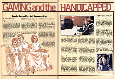 Gaming and the Handicapped. February 1983 article from Electronic Games.