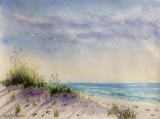 water colour painting of a seashore at Florida By Manju Panchal