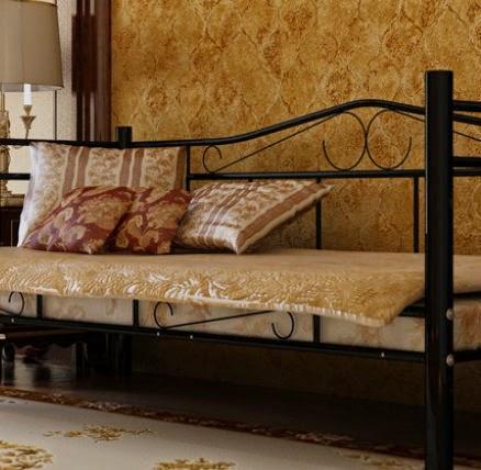decco interieur lit banquette m tal noir 90 x 200. Black Bedroom Furniture Sets. Home Design Ideas