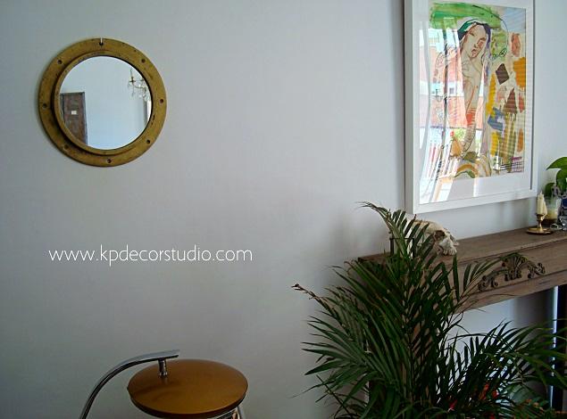 Venta de espejos antiguos dorados redondos de latón y bronce. Objetos de barco